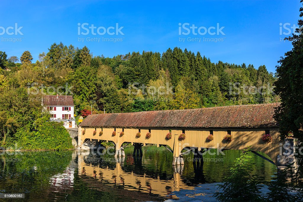 Rheinau, Covered Bridge - Switzerland stock photo