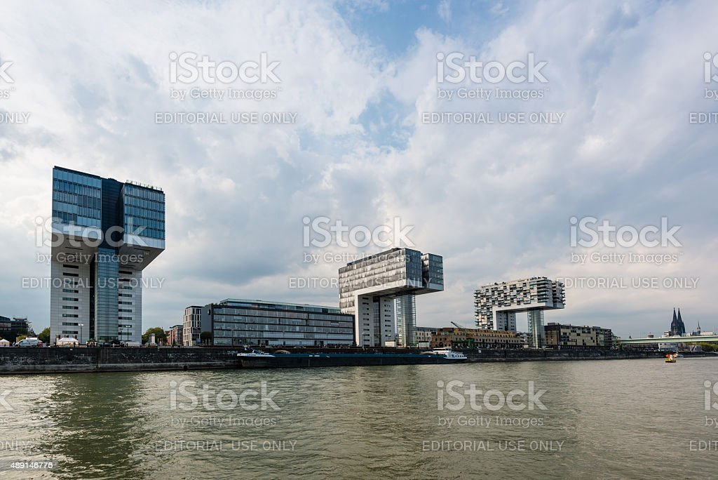Rheinau harbor in Cologne stock photo