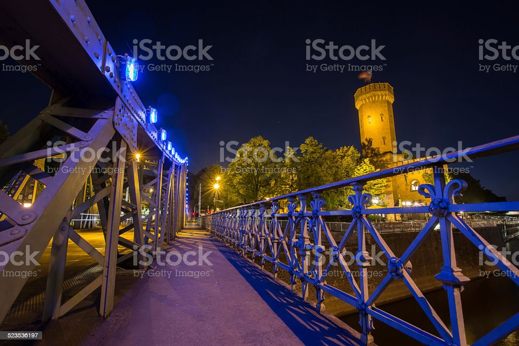 rheinau harbour cologne at night stock photo