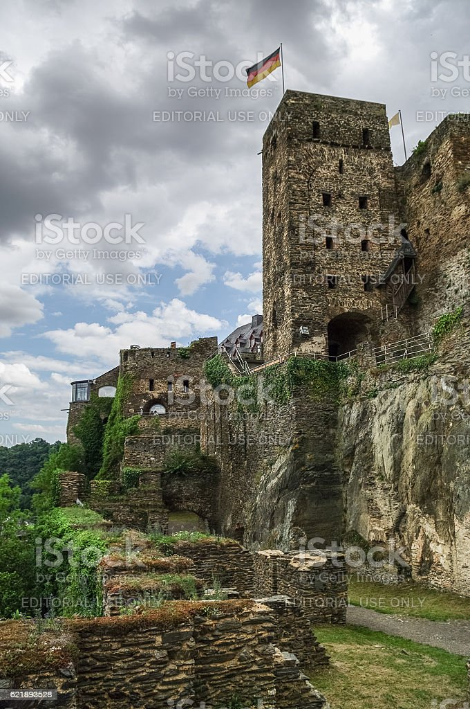 Rheinfels Castle near Village of Sankt Goar  at Rhine stock photo
