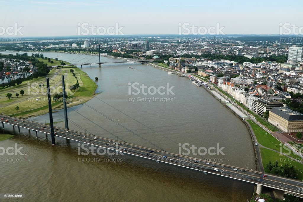Rheinknie bridge and Oberkasseler bridge over the Rhine, Düsseldorf Germany stock photo