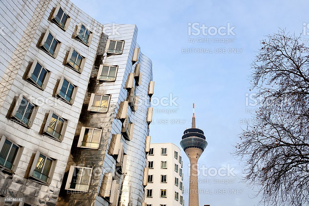 Rheinturm Tower and office buildings at Media Harbor Dusseldorf Germany stock photo