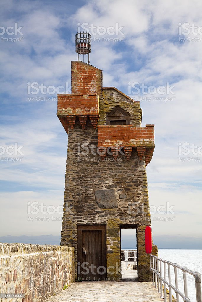 Rhenish Tower in Lynmouth Harbour Devon UK stock photo