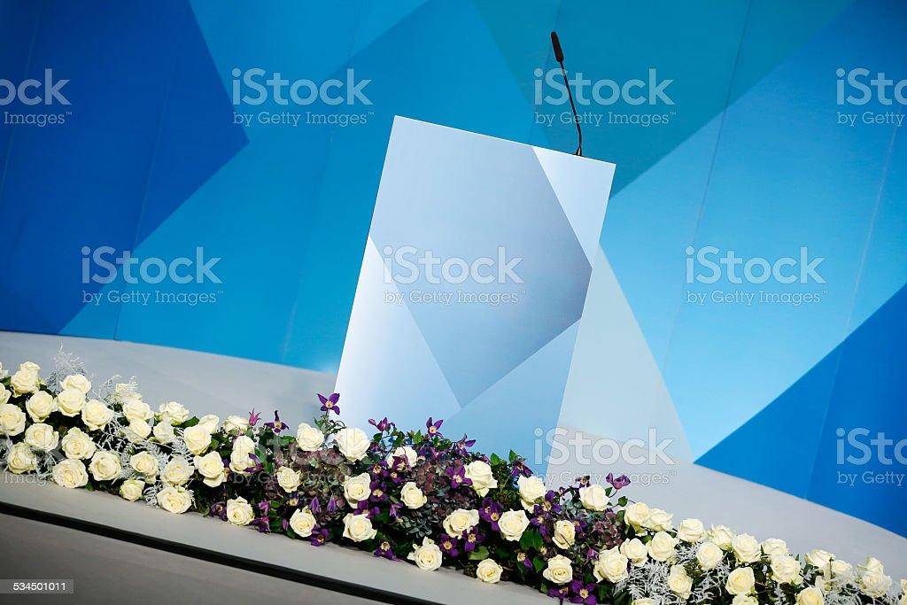 Rhetorical stage, speakers podium stock photo