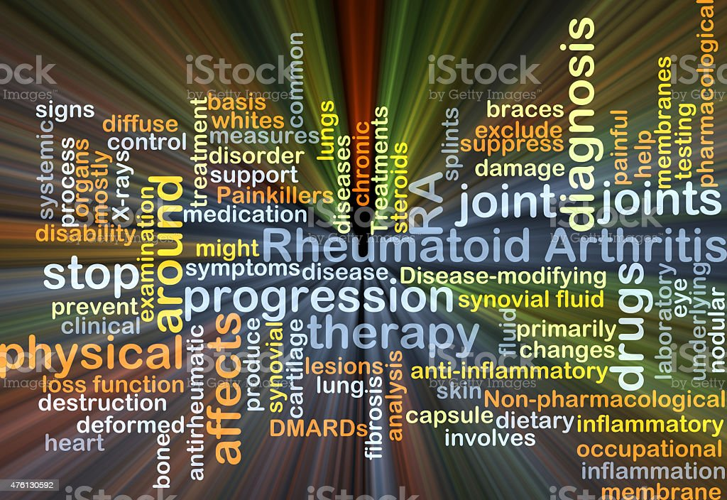 Rheumatoid arthritis RA background concept glowing stock photo