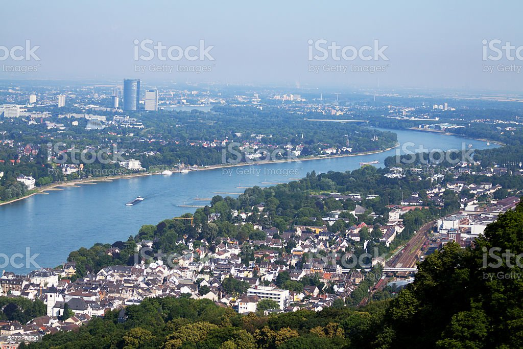 Rhine and Bonn seen from Drachenfelsen stock photo