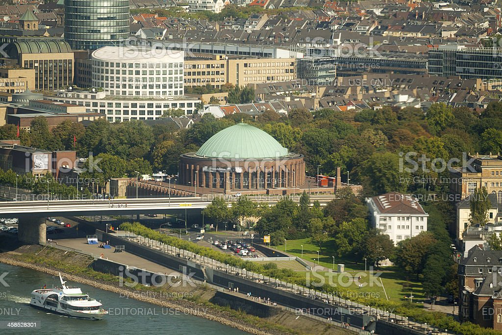Rhine and concerte hall Tonhalle stock photo