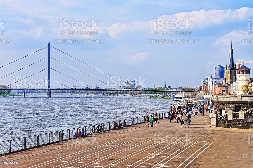 Rhine embankment promenade in the city center of Dusseldorf stock photo