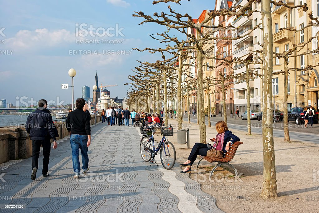 Rhine embankment promenade in the Old city center in Dusseldorf stock photo