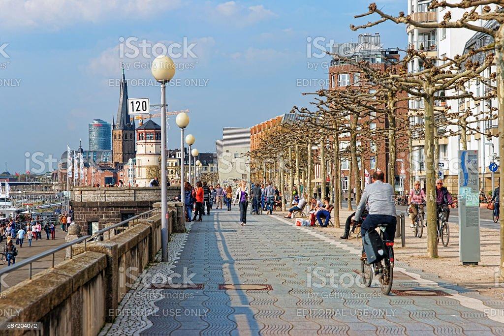 Rhine embankment promenade in the Old city center of Dusseldorf stock photo