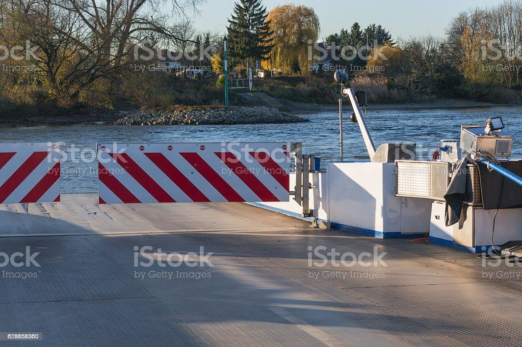 Rhine ferry at Dormagen Zons stock photo