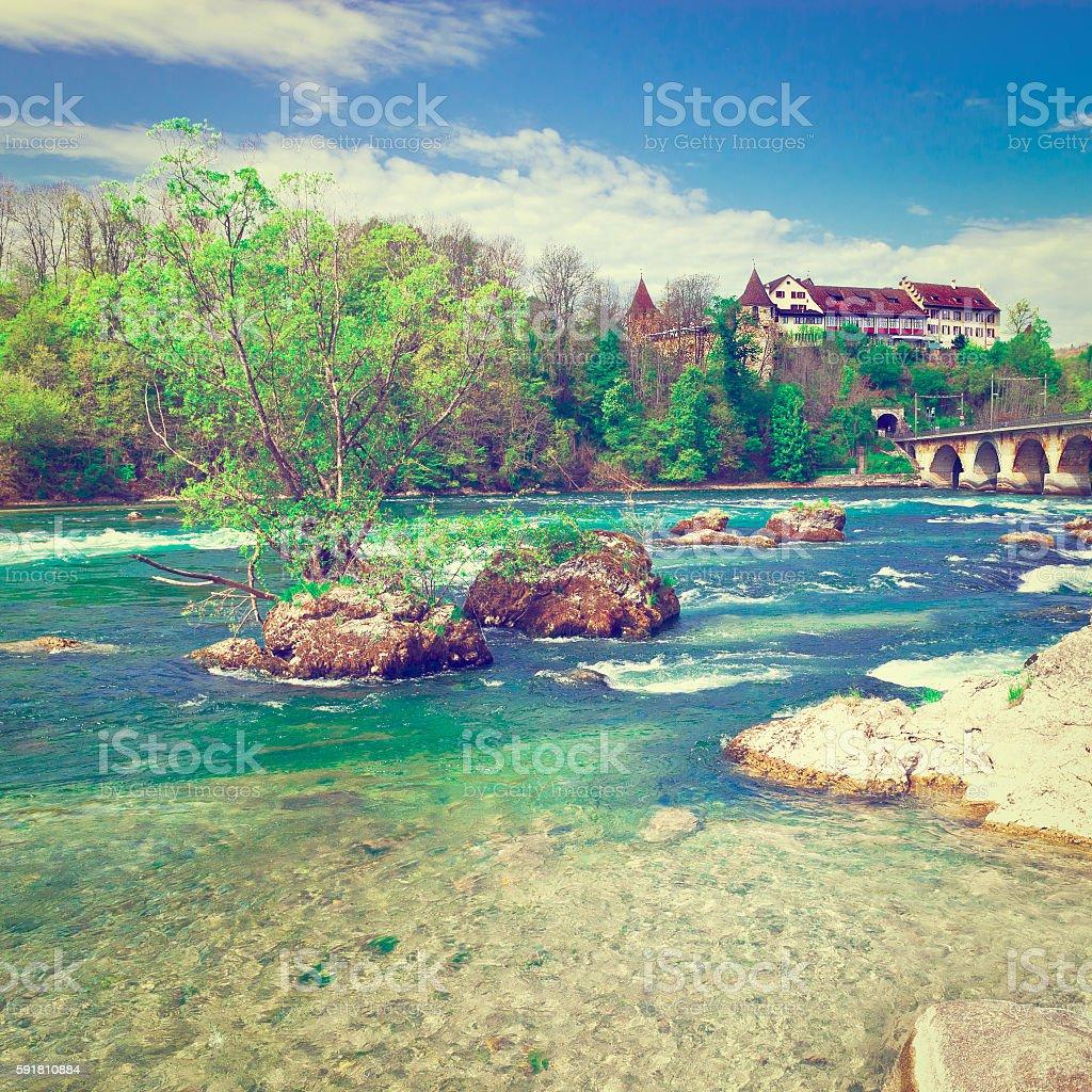 Rhine in Switzerland stock photo