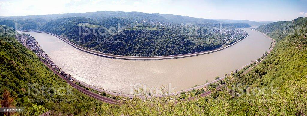 Rhine loop at Spay Panorama stock photo