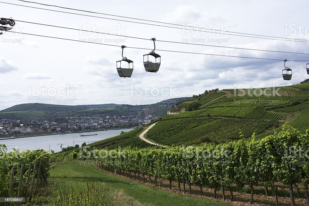 Rhine River and Cable Cars royalty-free stock photo
