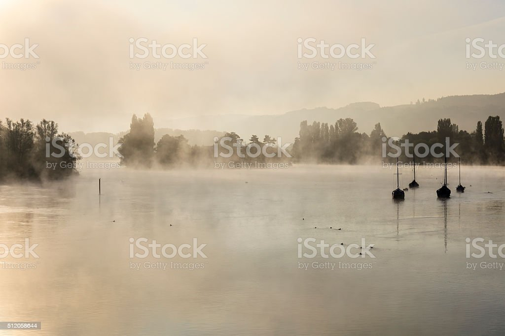 Rhine River At Dawn, Switzerland stock photo