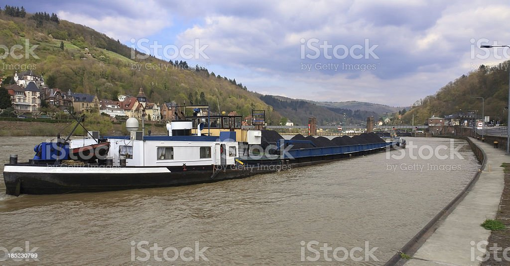 Rhine River Coal Barge royalty-free stock photo