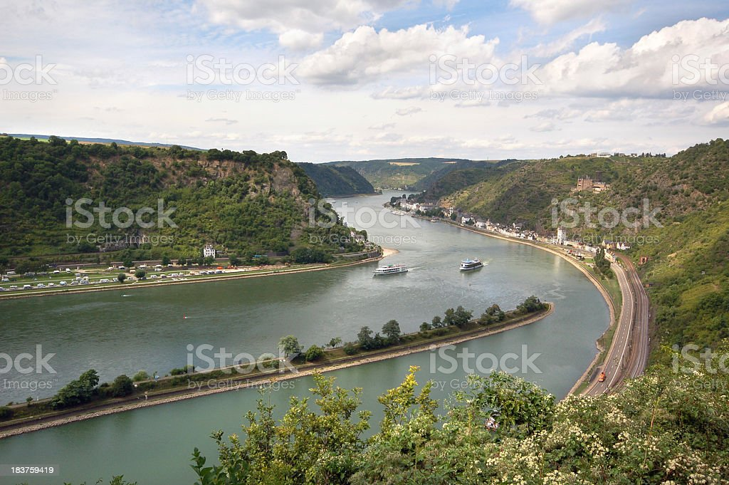 rhine river from loreley rock stock photo