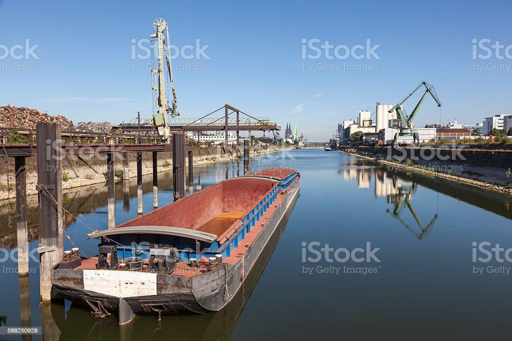 Rhine river harbor in Cologne, Germany stock photo
