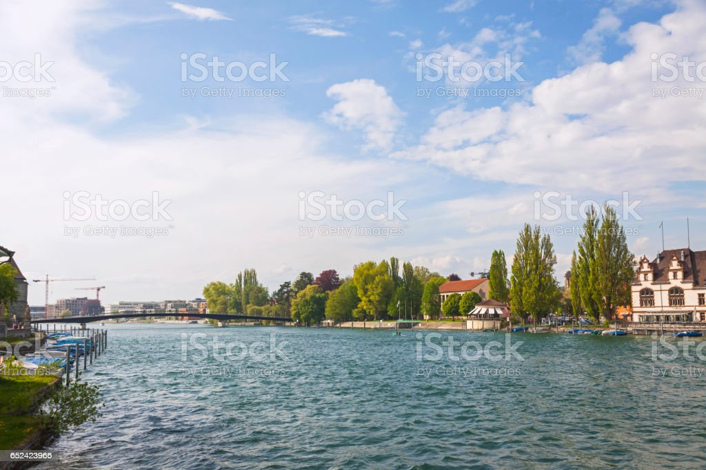 Rhine river in Konstanz city, Germany stock photo