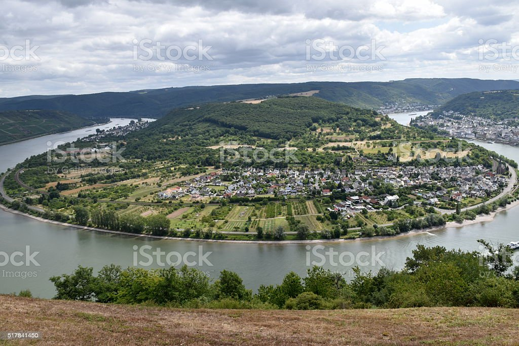 Rhine river loop near Boppard Germany stock photo