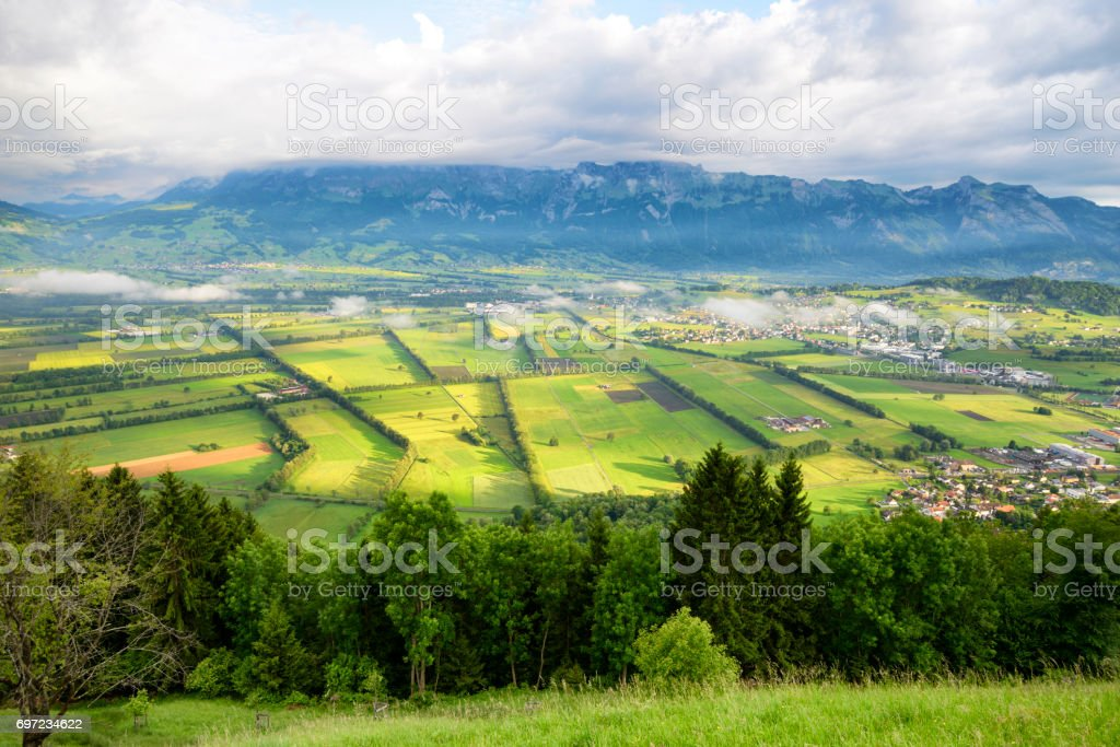 Rhine river valley from Liechtenstein stock photo
