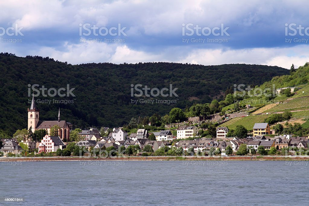 Rhine River view at St. Goar stock photo