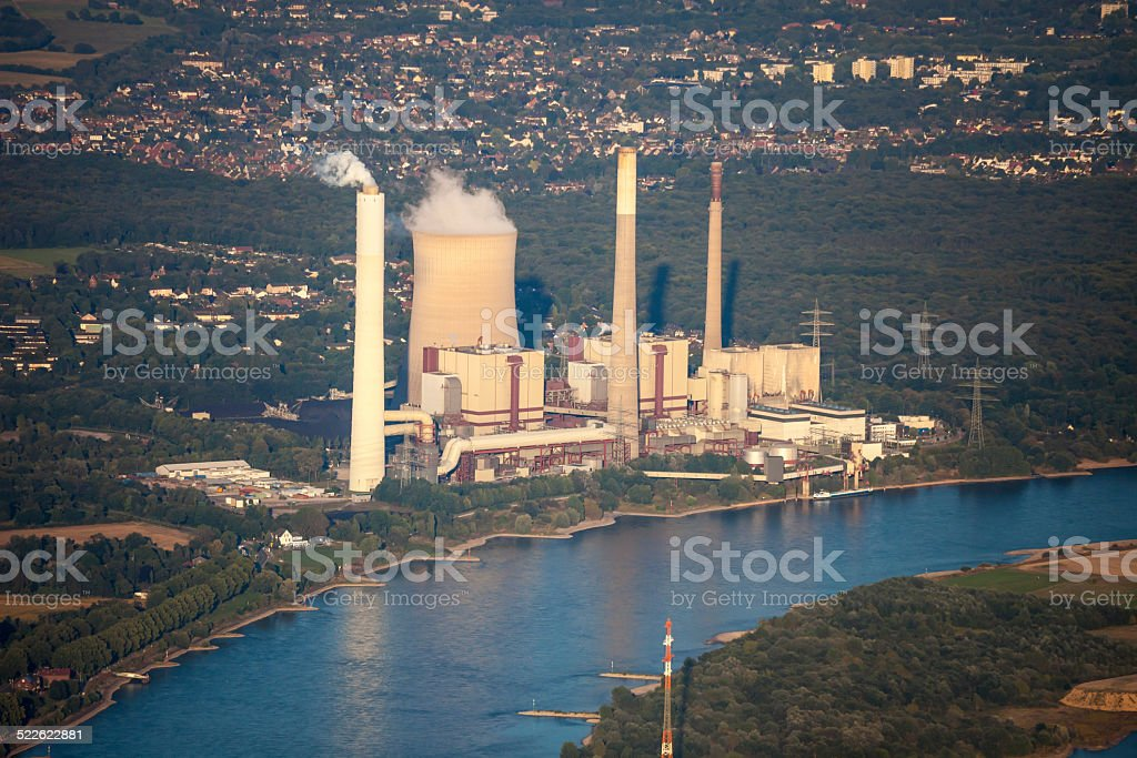 Rhine River with coal-fired Power Station stock photo