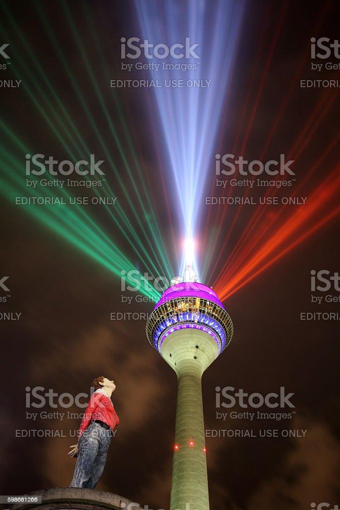 rhine tower Duesseldorf stock photo