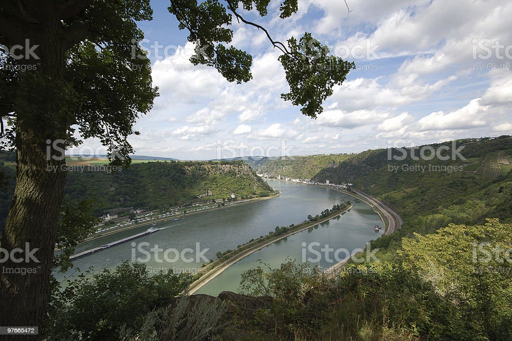 rhine valley from loreley rock stock photo