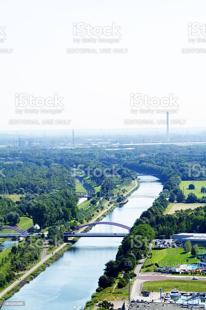 Rhine-Herne-Canal and eastern Ruhrgebiet stock photo