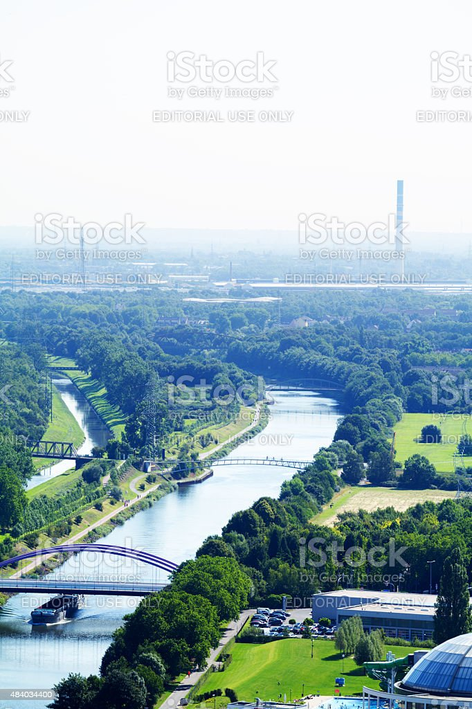 Rhine-Herne-Canal and northern Gelsenkirchen stock photo