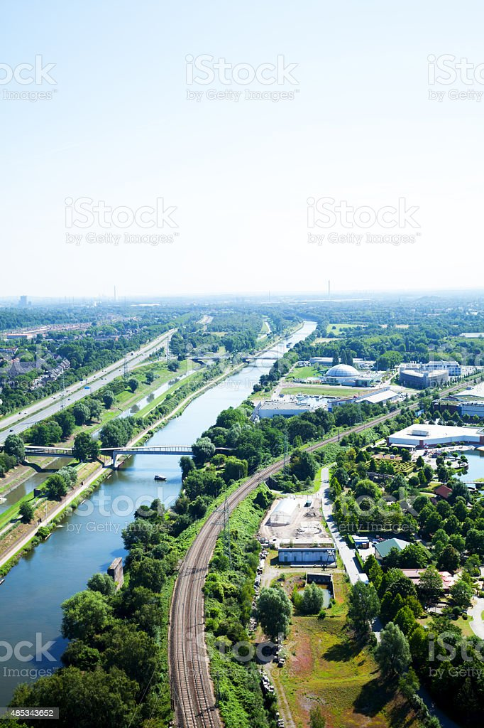 Rhine-Herne-Canal in summer stock photo