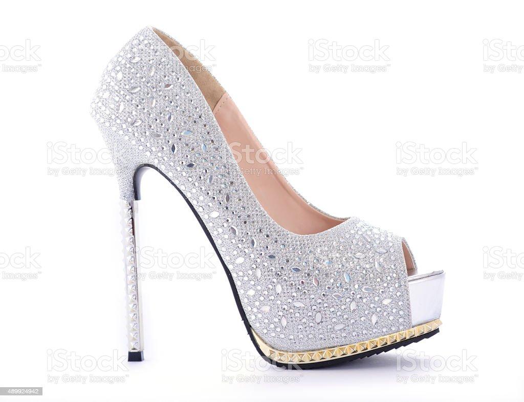 Rhinestone High Heel Stiletto Shoes. stock photo