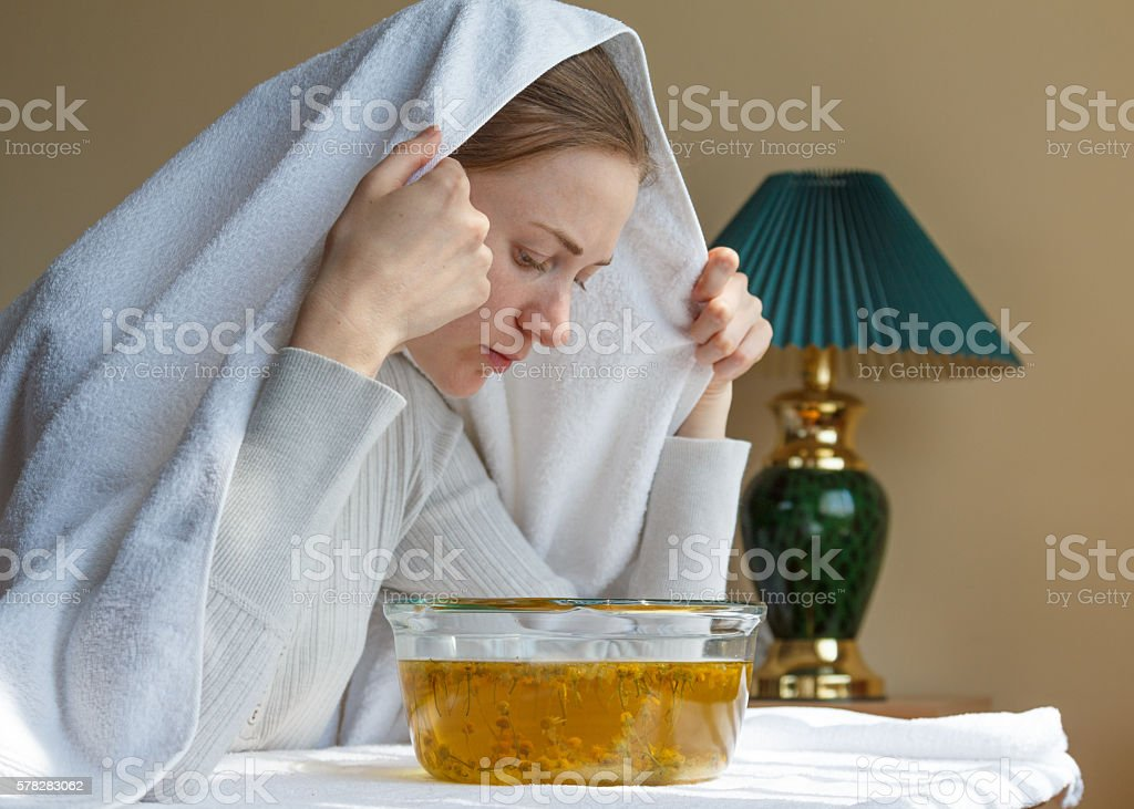 rhinitis treatment at home by inhalation stock photo