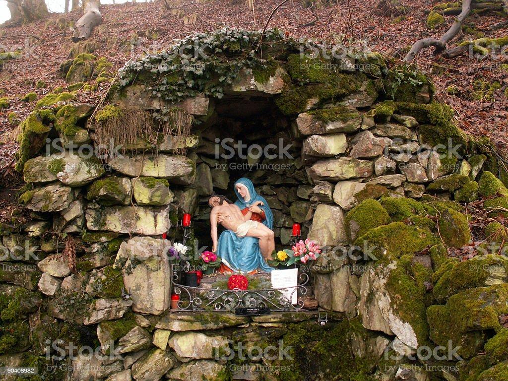 Rhön - Milseburg mit künstlicher Grotte, Maria und Jesus royalty-free stock photo