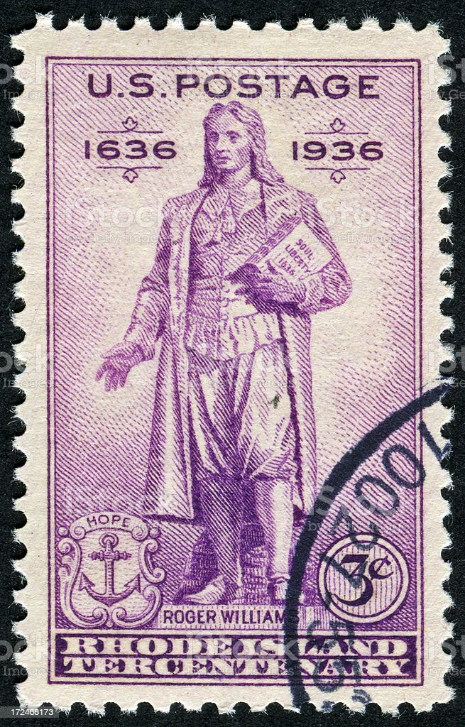 Rhode Island And Roger Williams Stamp stock photo