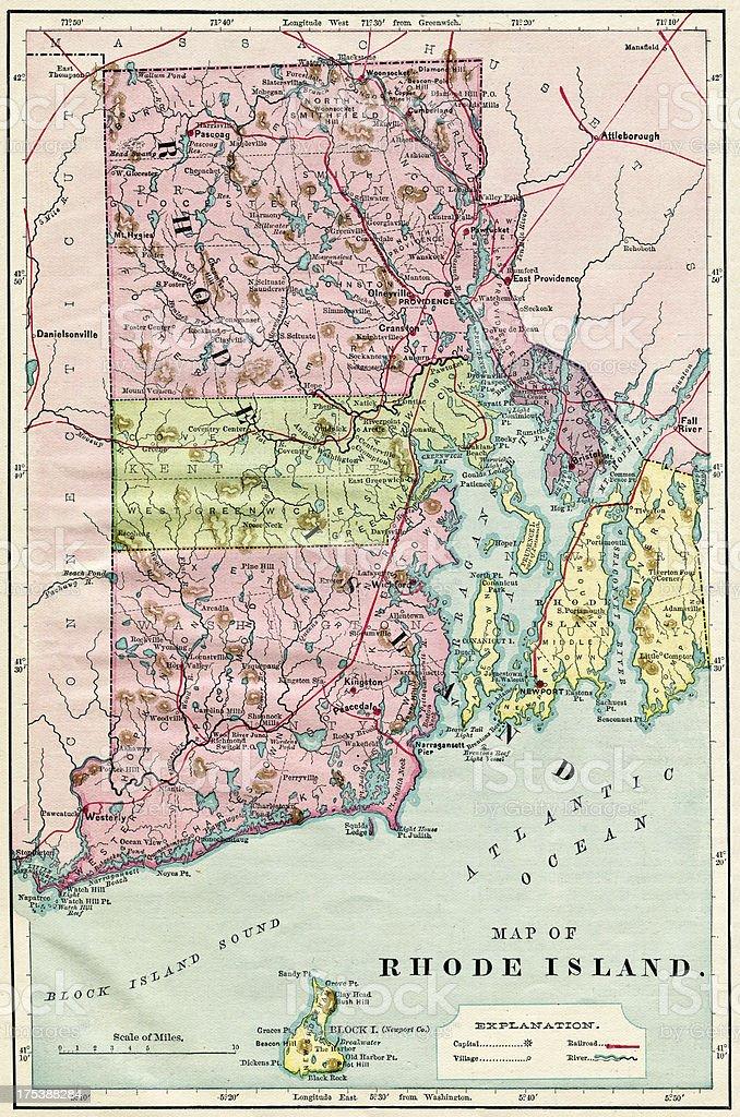 Rhode Island Map 1884 XXXL stock photo