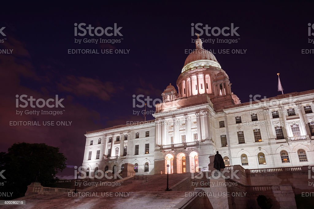 Rhode Island State Capitol in Providence, RI at night stock photo