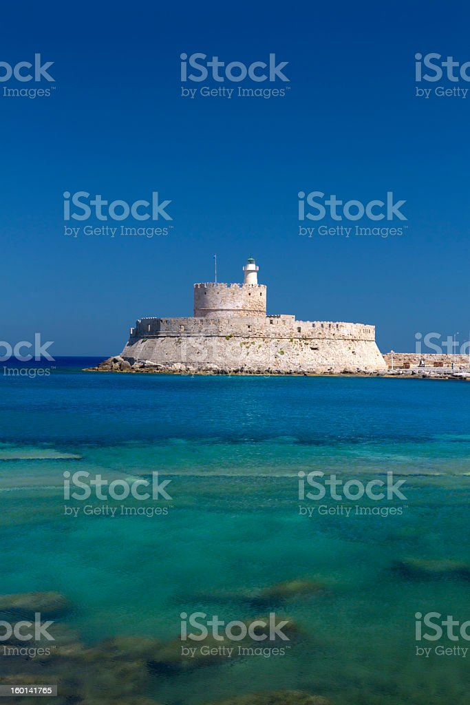 Rhodes fortress stock photo
