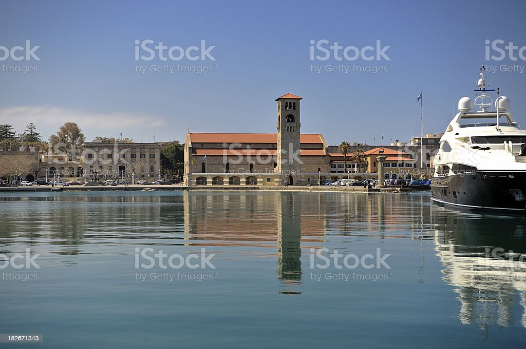 Rhodes Greece Mandraki Marina stock photo