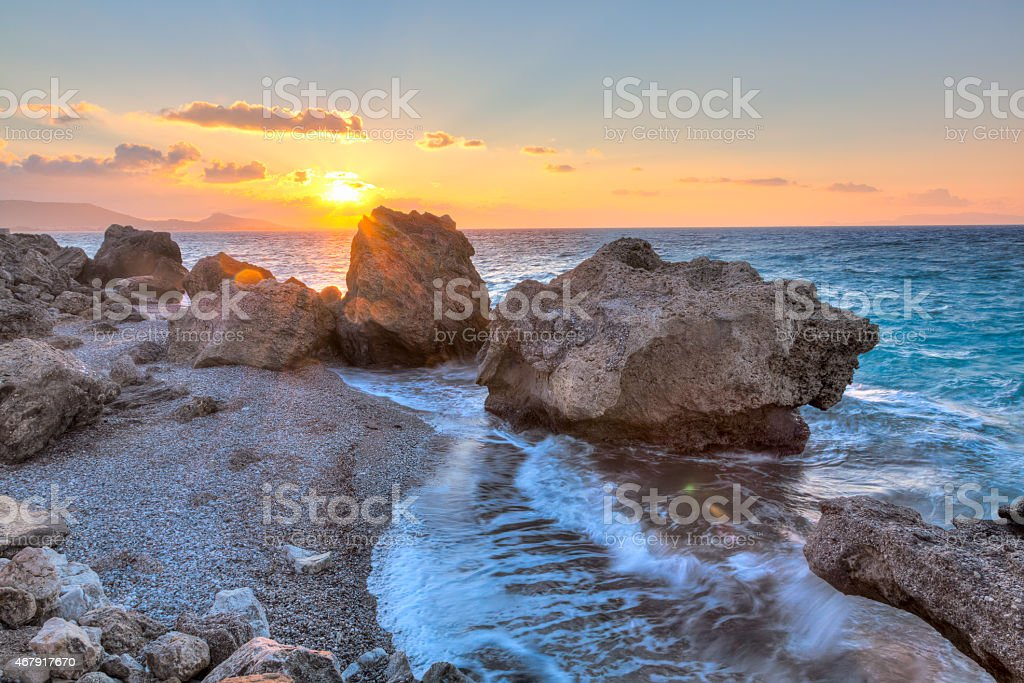 Rhodes Greece Sunset stock photo