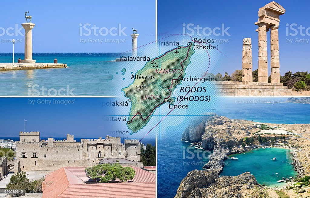 Rhodes island and Rhodes city stock photo