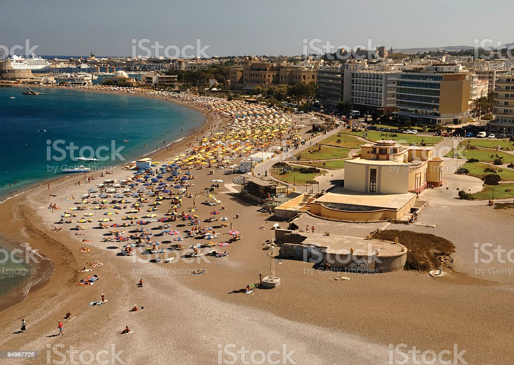 Rhodes Island Greece beach Aerial stock photo
