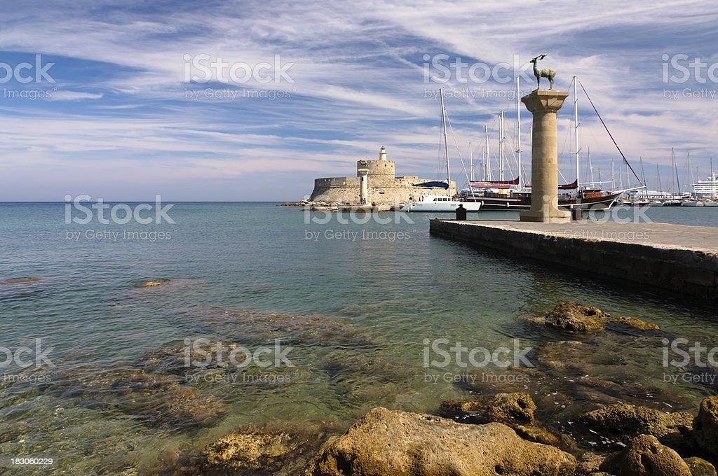 Rhodes Landmark Mandraki Port entrance stock photo