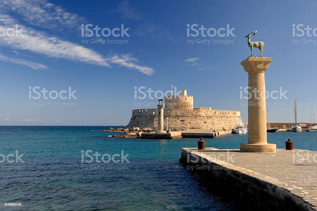 Rhodes Landmark Mandraki Port stock photo