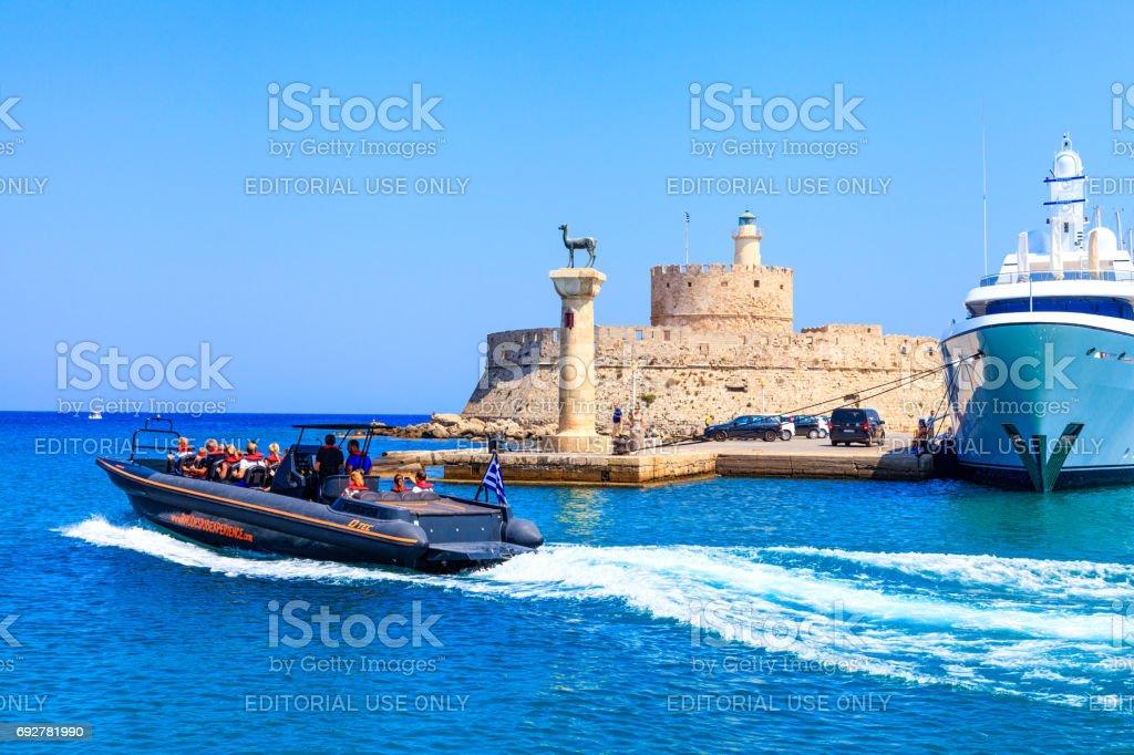 Rhodes Mandraki Port, Greece stock photo