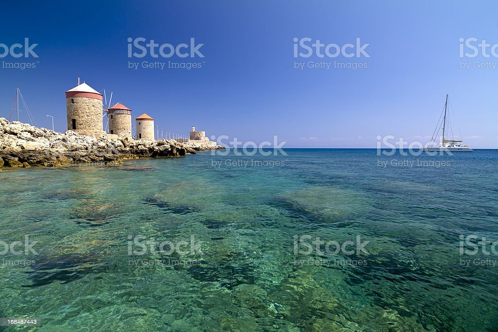 Rhodes Mandraki Windmills stock photo