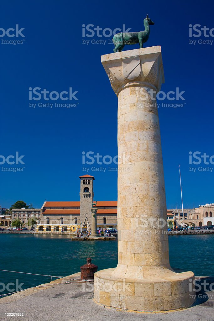 Rhodes old port stock photo