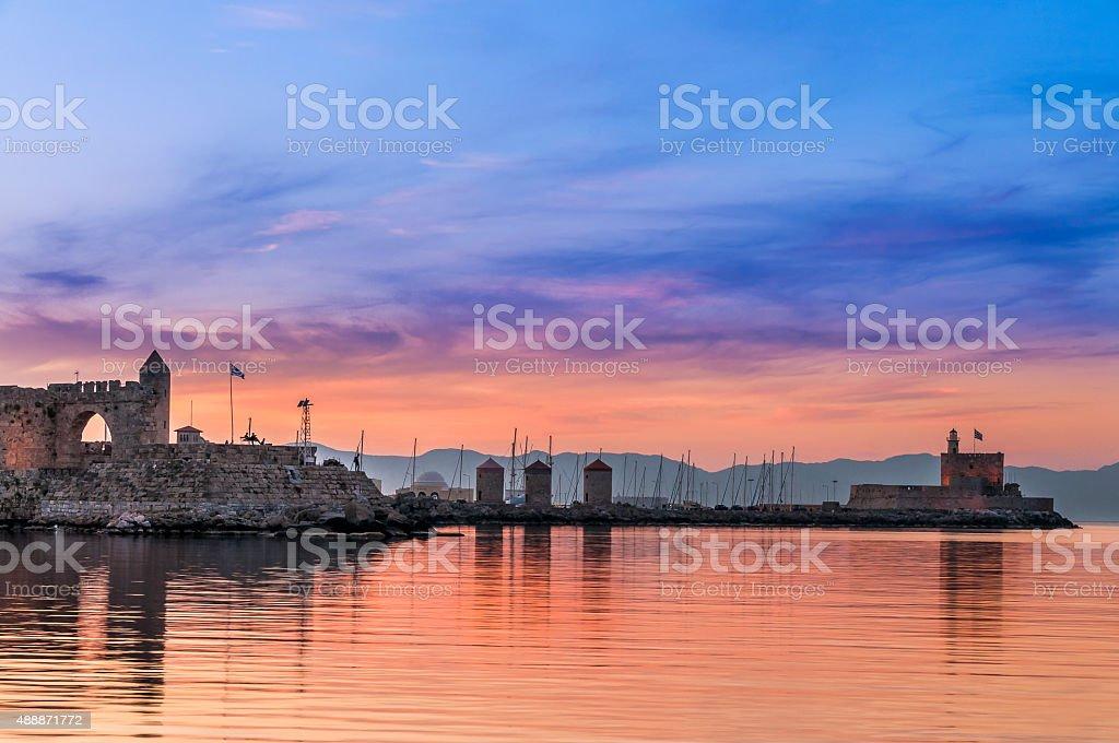 Rhodes sunset stock photo