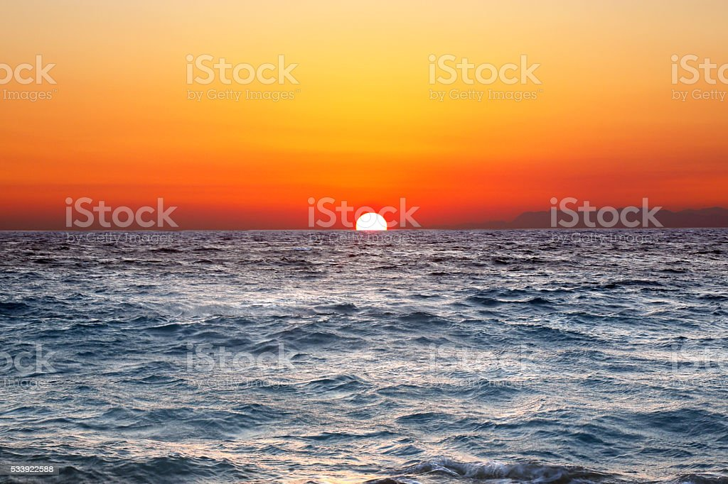 Rhodes sunset stock photo